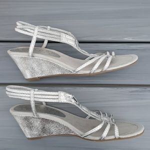 Silver sling back wedge dress sandal